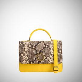 Borsa Frasette in pelle gialla e beige