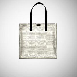Shopping Bag Frasette in sky grigio stampa rettile