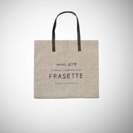 Shopping Bag Frasette in lino grezzo beige