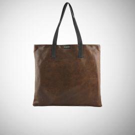 Shopping Bag Frasette in pelle testa di moro