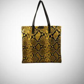 Shopping Bag Frasette in pelle gialla stampa rettile