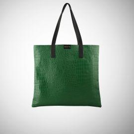 Shopping Bag Frasette in pelle verde stampa cocco