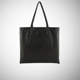 Shopping Bag Frasette in pelle nera stampa cocco M