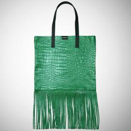 Shopping Bag Frasette in pelle verde con frange