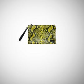 Pochette Frasette in pelle gialla nera stampa rettile