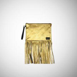 Pochette Frasette in pelle oro con frange