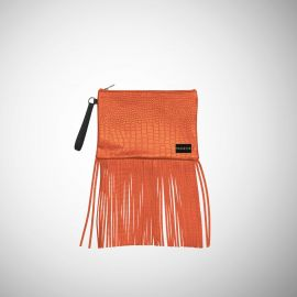 Pochette Frasette in pelle arancione con frange