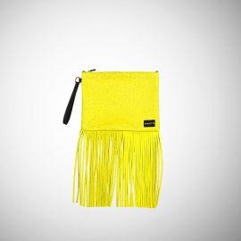 Pochette Frasette in pelle gialla stampa struzzo