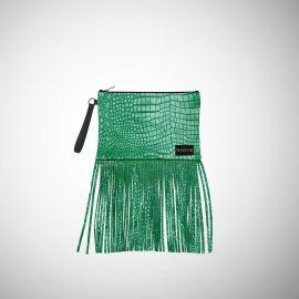 Pochette Frasette in pelle verde con frange