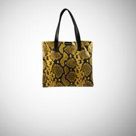 Shopping Bag Frasette in pelle gialla e nera