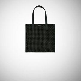 Shopping Bag Frasette in pelle nera intrecciata