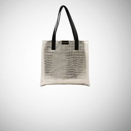 Shopping Bag Frasette in pelle grigia stampa cocco
