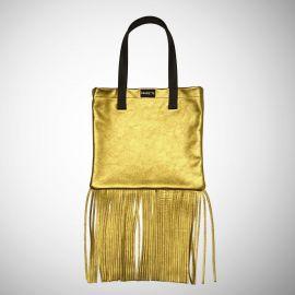 Shopping Bag Frasette in pelle oro con frange