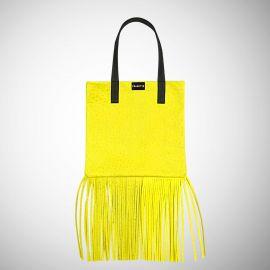 Shopping Bag Frasette in pelle gialla con frange
