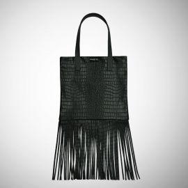 Shopping Bag Frasette in pelle nera con frange