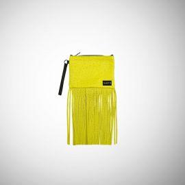 Pochette Frasette in pelle gialla con frange