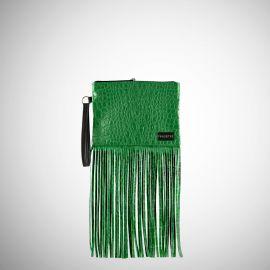 Pochette Frasette in pelle verde stampa cocco