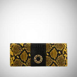 Baguette Frasette in pelle gialla e nera stampa rettile