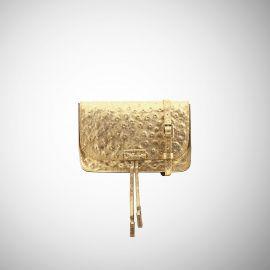 Marsupio Frasette in pelle oro stampa struzzo