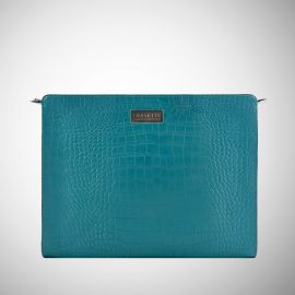 Work Bag Frasette in pelle turchese stampa cocco
