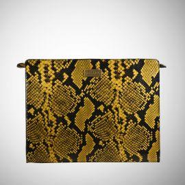 Work Bag Frasette in pelle gialla e nera stampa rettile