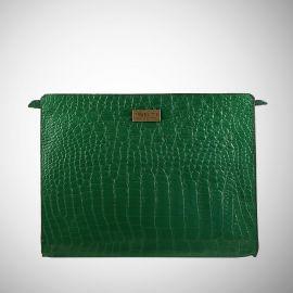 Work Bag Frasette in pelle verde stampa cocco